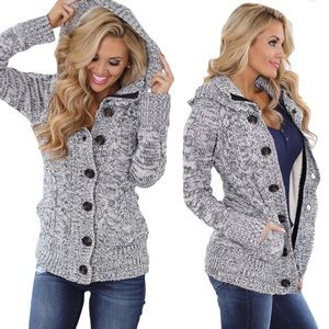 Cozy Knit Hooded Cardigan Coat with Pockets Grey